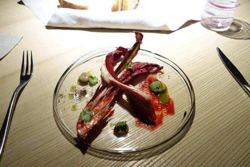 Le Calandre Treviso radicchio with spicy sauce